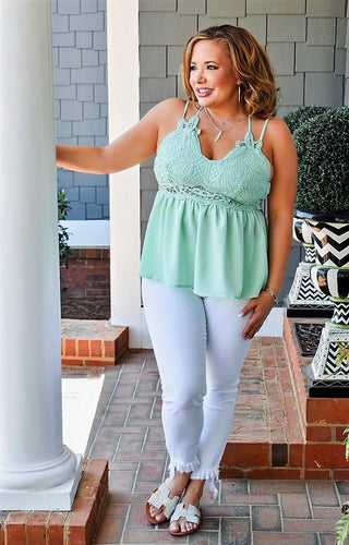 Elevated Interest Lace Top - Mint