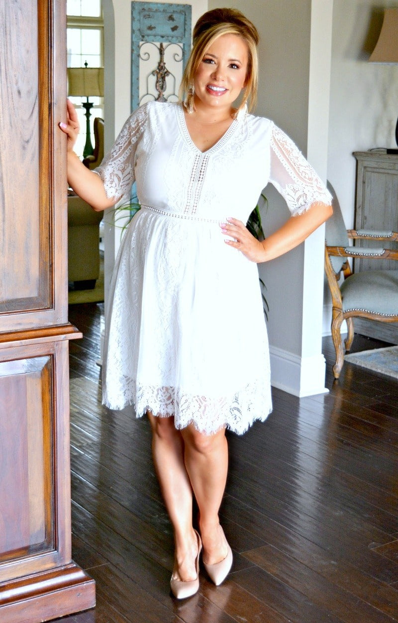 Load image into Gallery viewer, Thankful For You Lace Dress - White