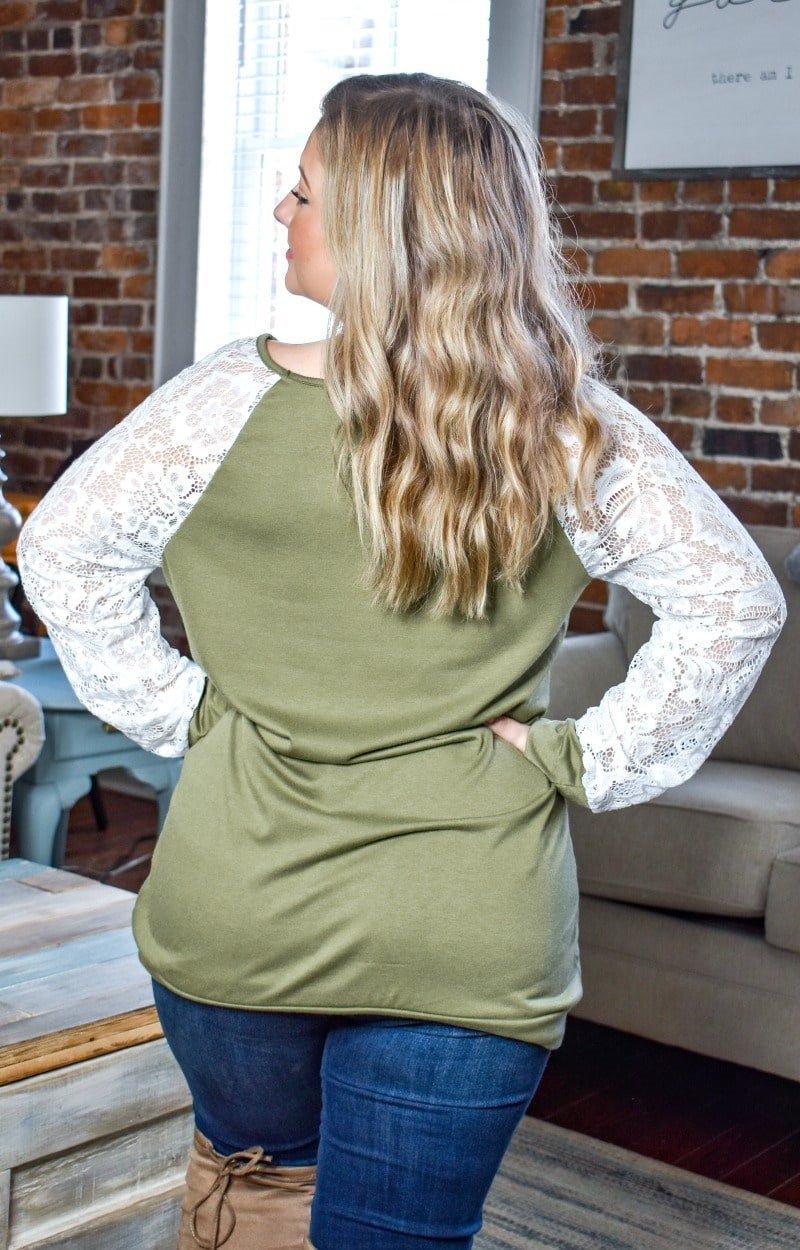 Load image into Gallery viewer, Time Well Spent Lace Top - Olive