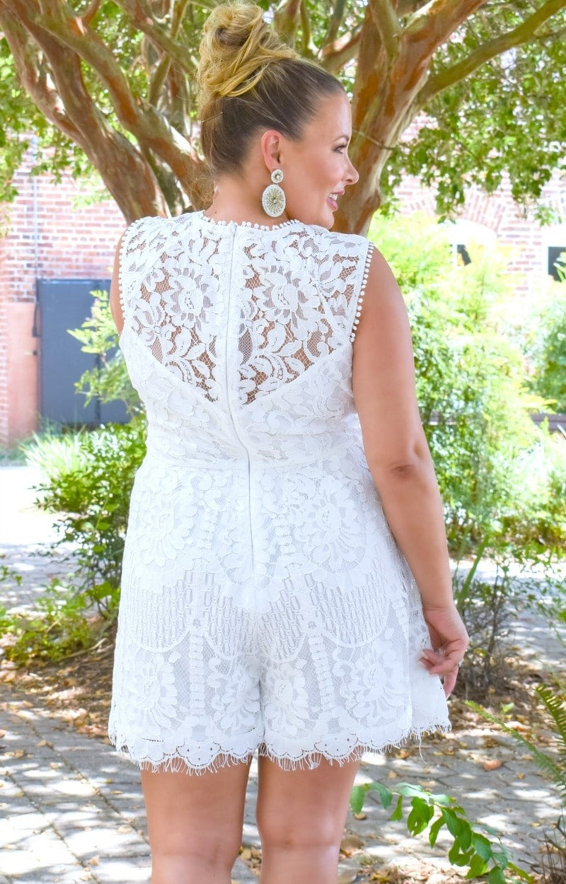 Penthouse Party Lace Romper - White