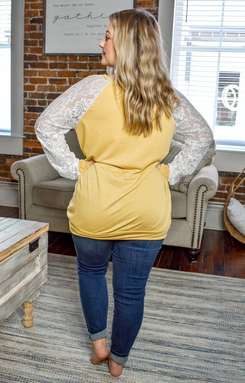 Time Well Spent Lace Top - Marigold