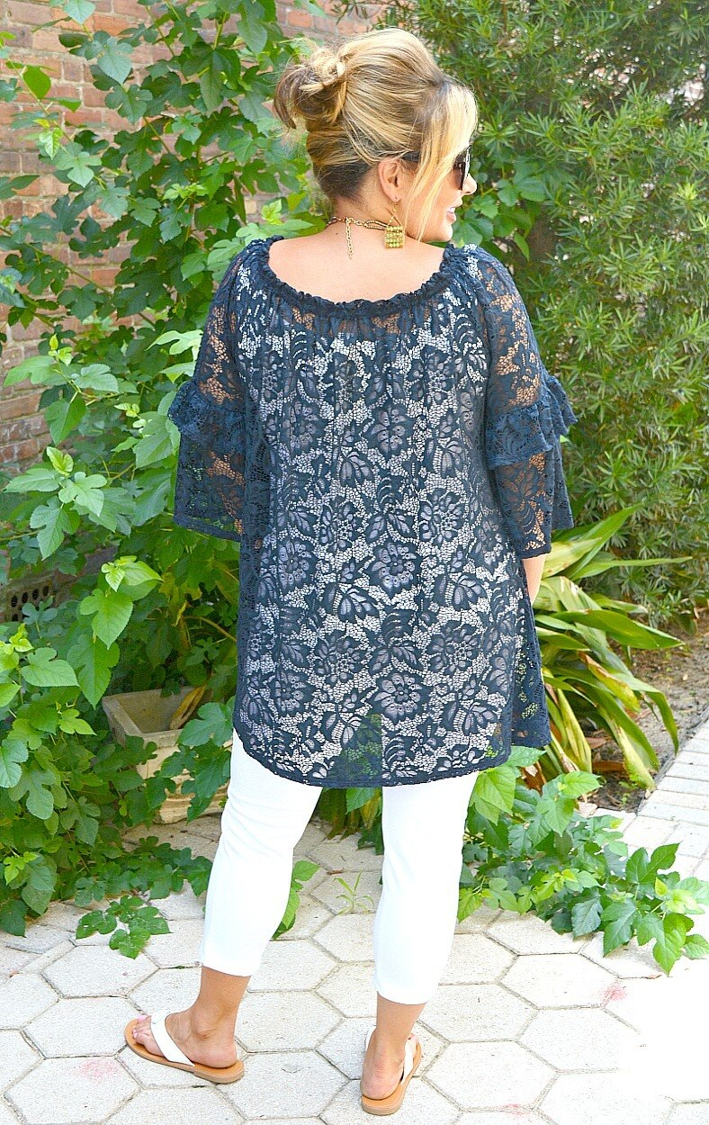 Had It Coming Lace Top - Navy