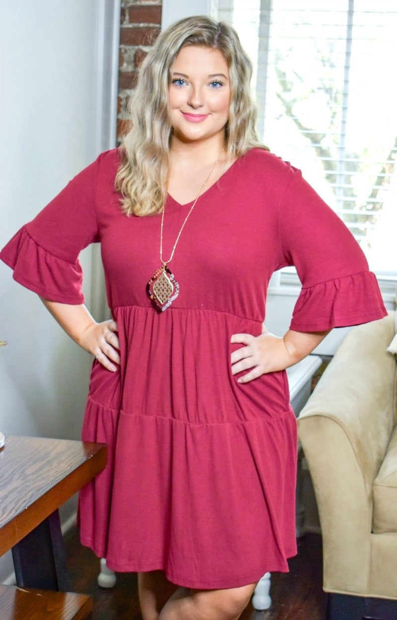 Catch Me Later Dress - Burgundy