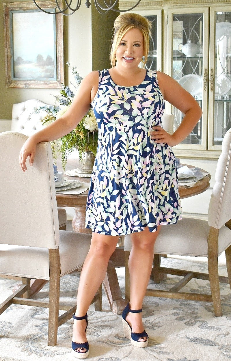 Load image into Gallery viewer, Someplace Tropical Print Dress - Navy/Multi