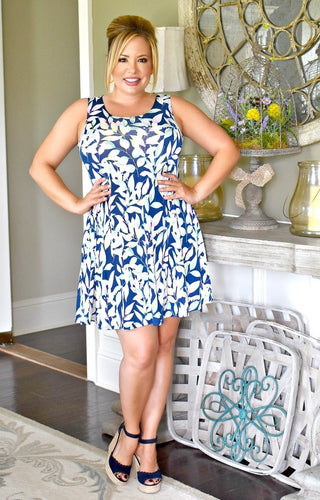 Someplace Tropical Print Dress - Navy/Multi