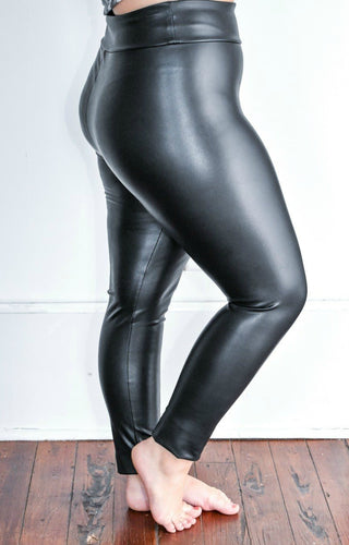 Just Roll With It Faux Leather Leggings - Black