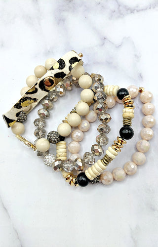 Yours Truly Bracelet Set - Cream/Leopard