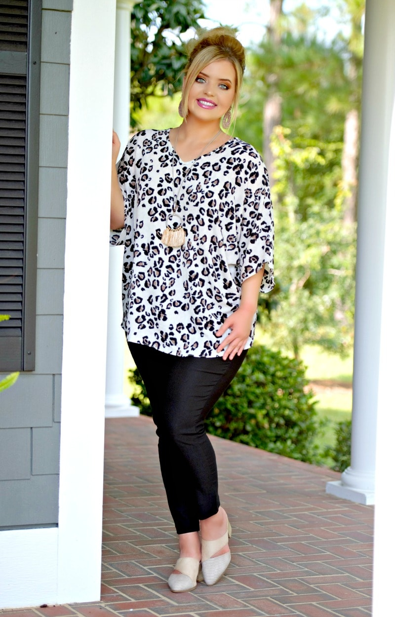 Pounce On Them Leopard Print Top - Ivory