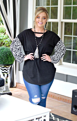 Pass You By Leopard Print Top - Black
