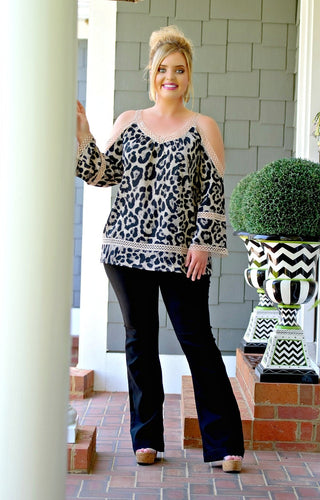 Keep Waiting Cold Shoulder Leopard Print Top