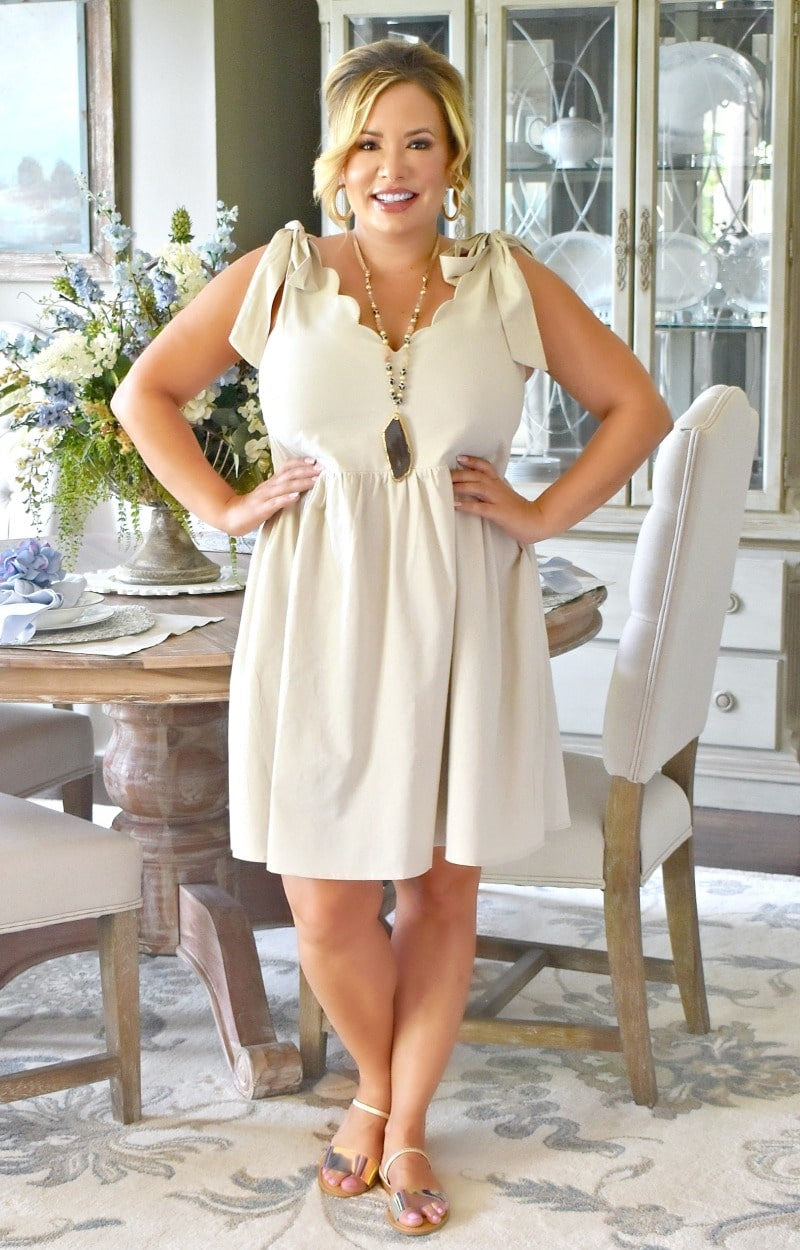 Down By The Shore Dress - Light Beige