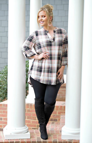 Going My Way Plaid Top - Black/Coral