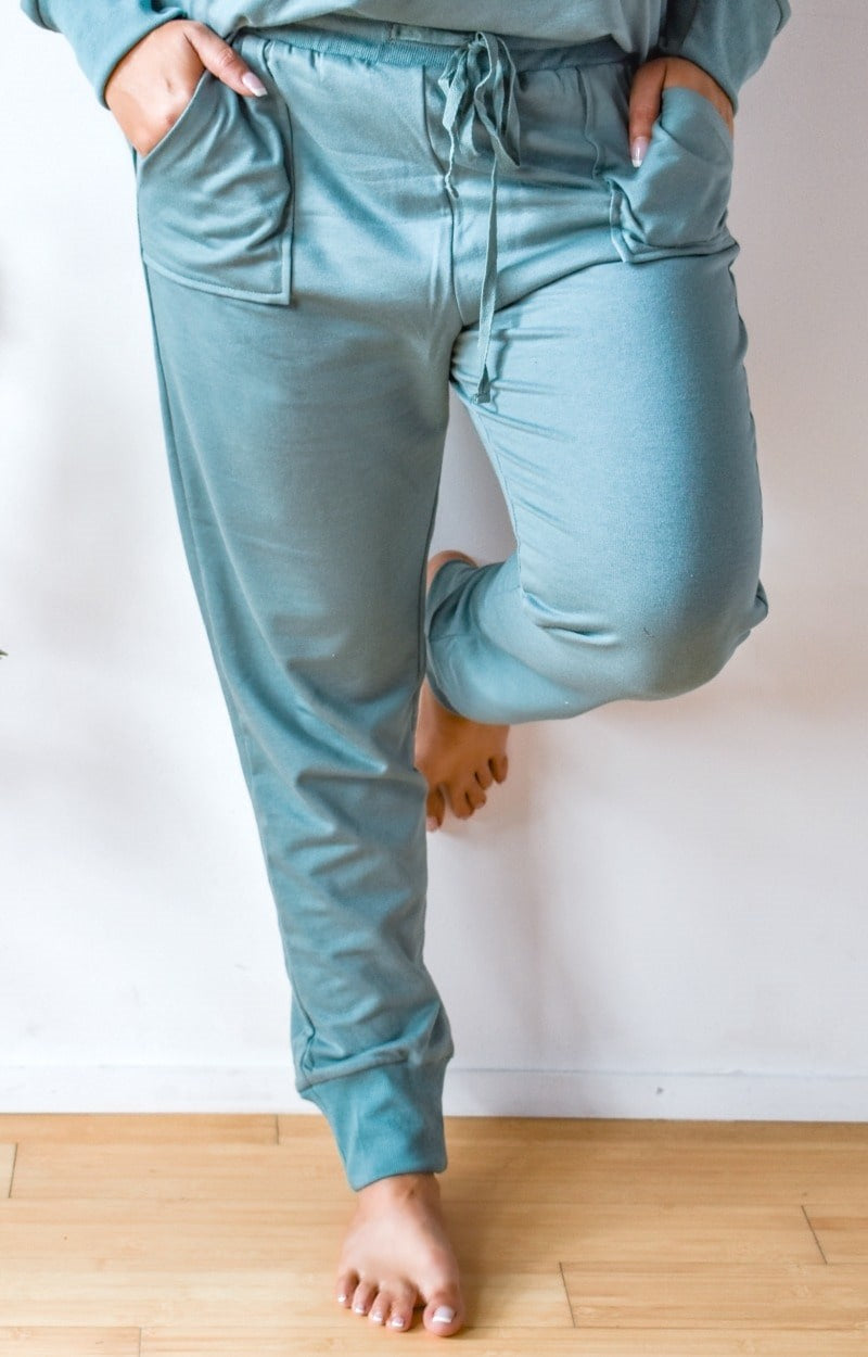 Time To Relax Joggers - Mineral Blue