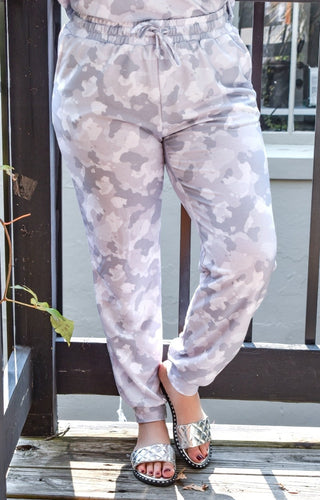 Having A Lazy Day Camo Joggers - Gray
