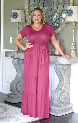 On My Way Maxi Dress - Burgundy