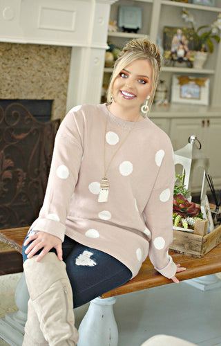 Take A Shot Polka Dot Sweater - Mauve
