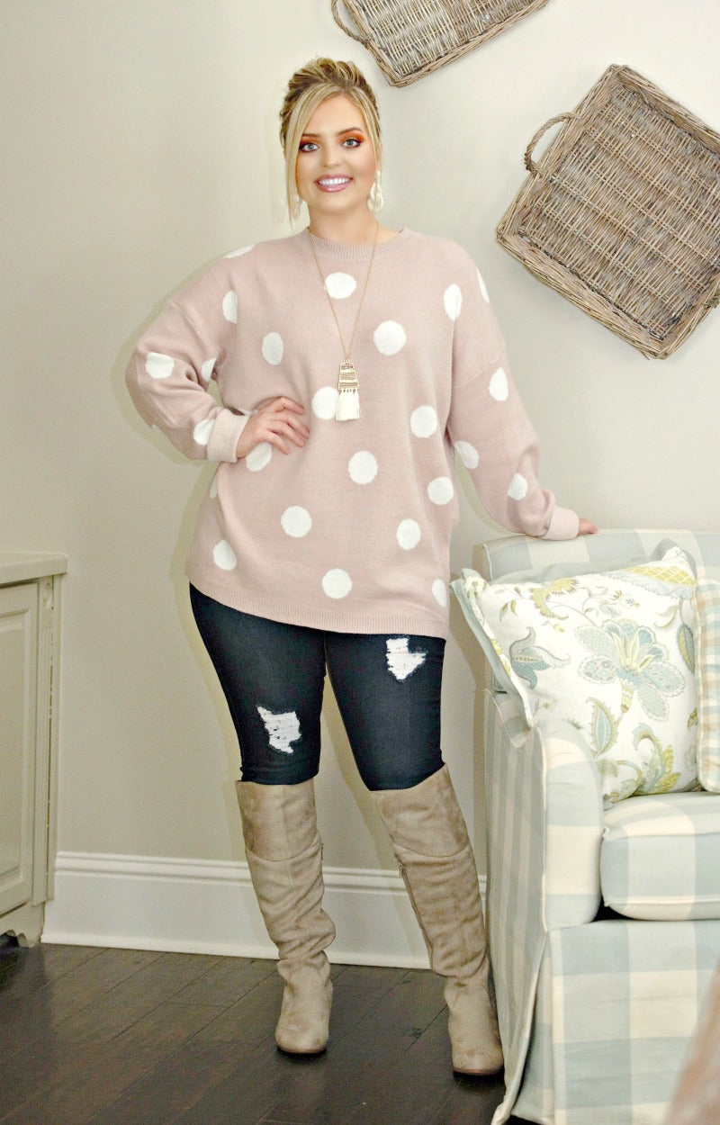 Load image into Gallery viewer, Take A Shot Polka Dot Sweater - Mauve