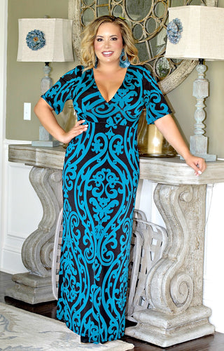 Kiss Me Goodbye Print Maxi Dress - Teal