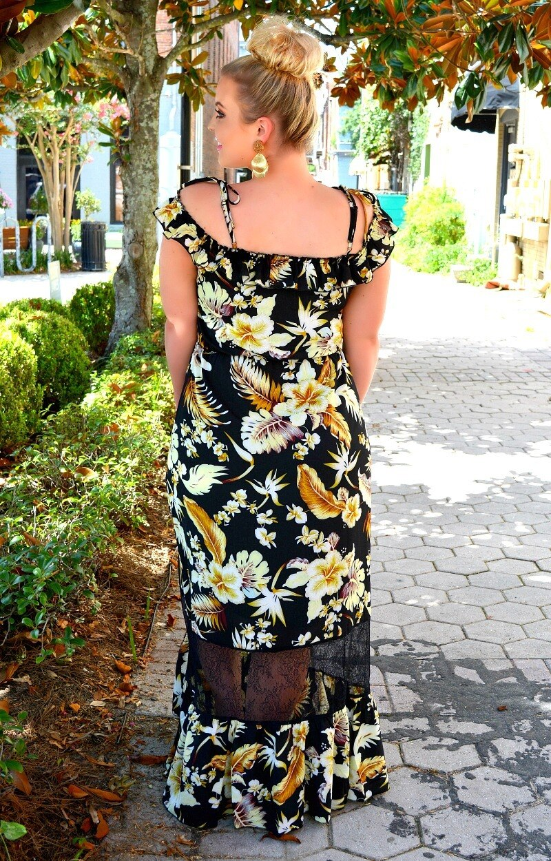 Summer Spark Floral Maxi Dress - Black