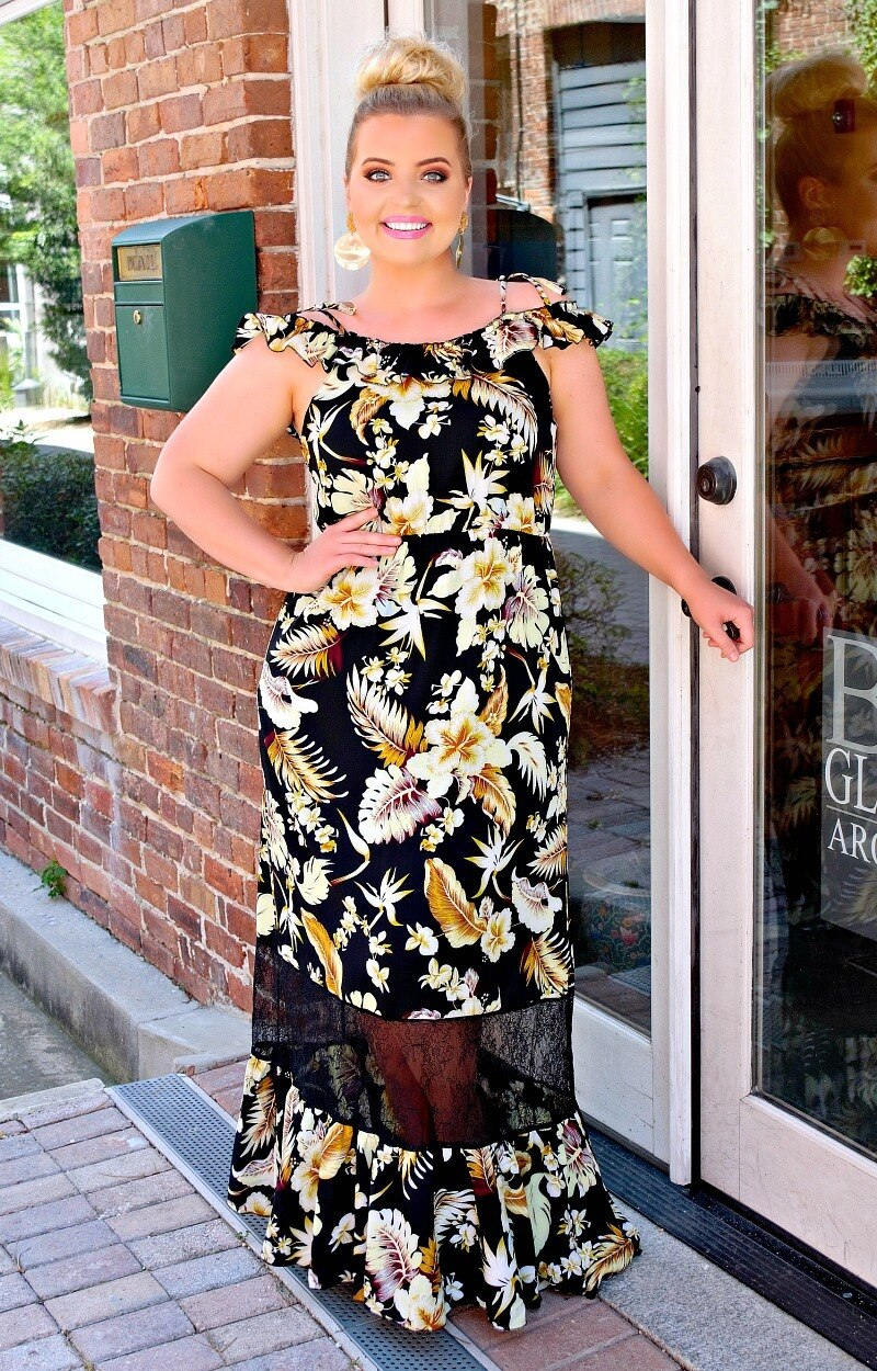 Load image into Gallery viewer, Summer Spark Floral Maxi Dress - Black