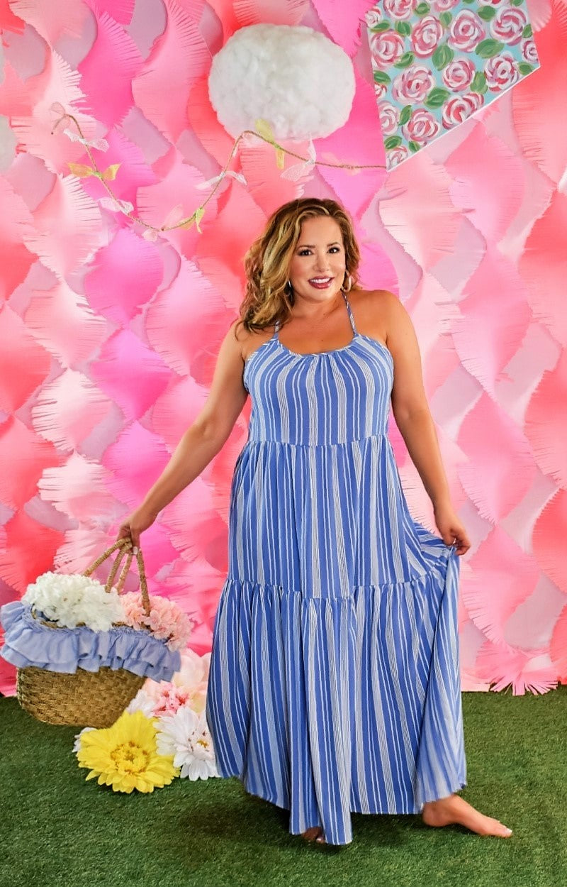 Load image into Gallery viewer, My Love Affair Striped Maxi Dress - Denim Blue