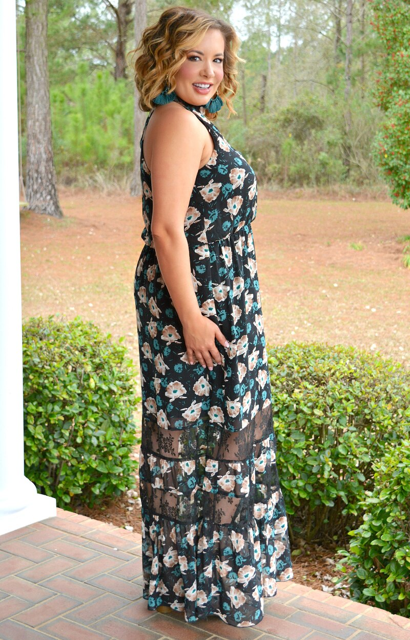 Load image into Gallery viewer, She's Everything Floral Maxi Dress - Black