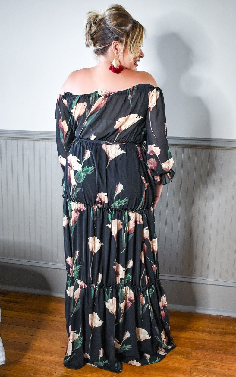 Had Your Chance Floral Maxi Dress - Black