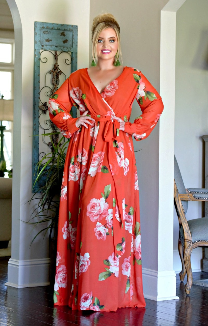 Don't Lose Touch Floral Maxi Dress - Red