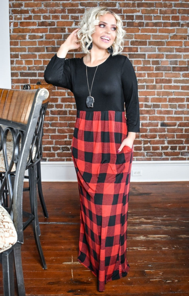 Load image into Gallery viewer, Let's Go Away Plaid Maxi Dress - Black/Red