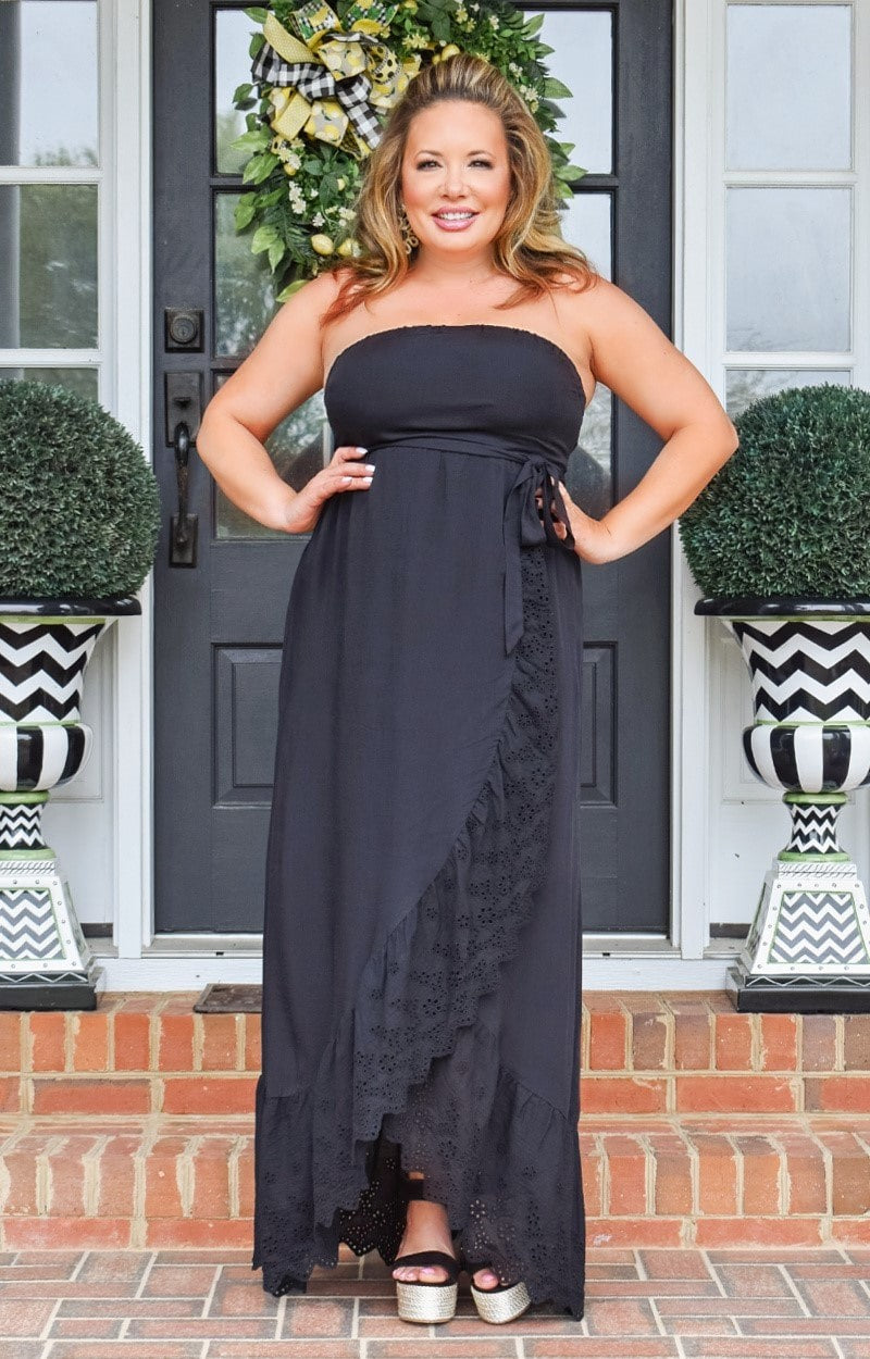 All Smiles Embroidered Maxi Dress - Black