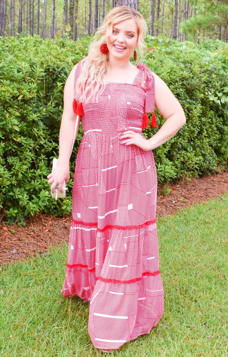 Load image into Gallery viewer, Catch My Vibe Maxi Dress - Red