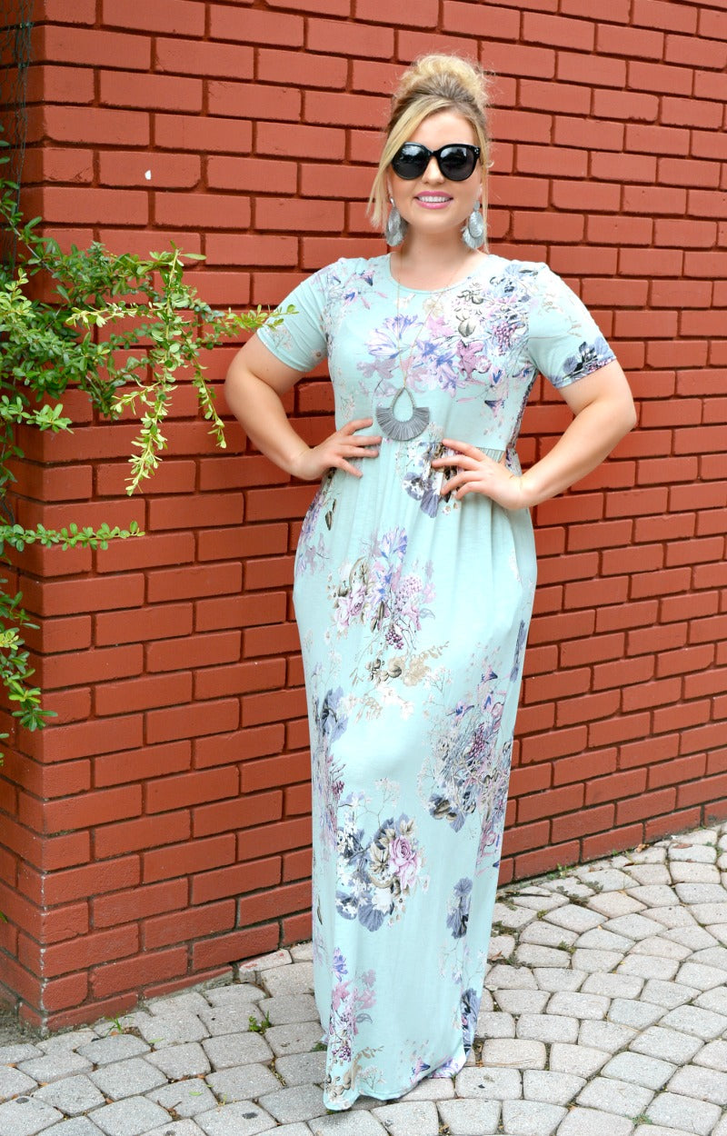 Watch Me Bloom Floral Maxi Dress - Mint