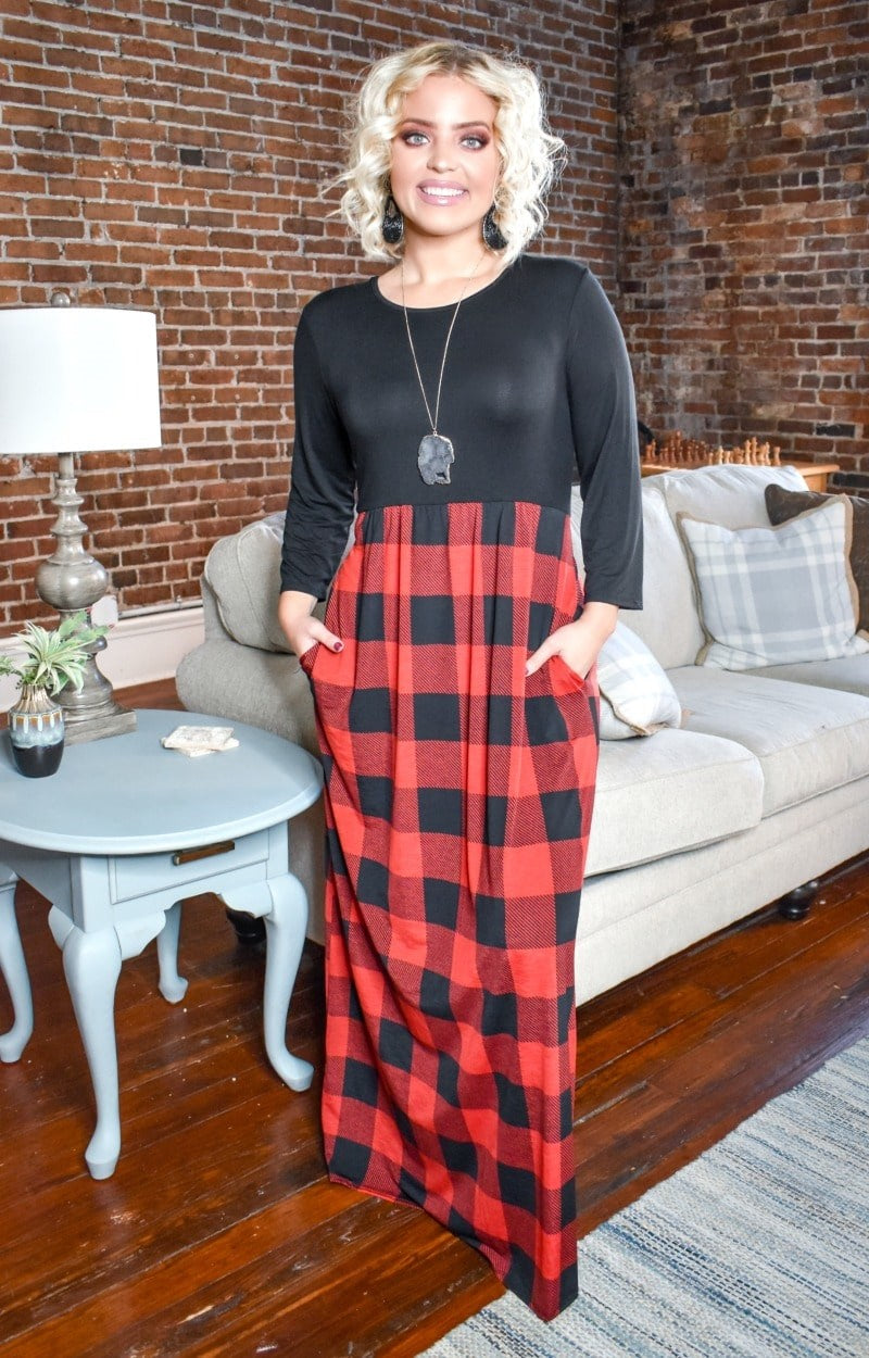 Let's Go Away Plaid Maxi Dress - Black/Red