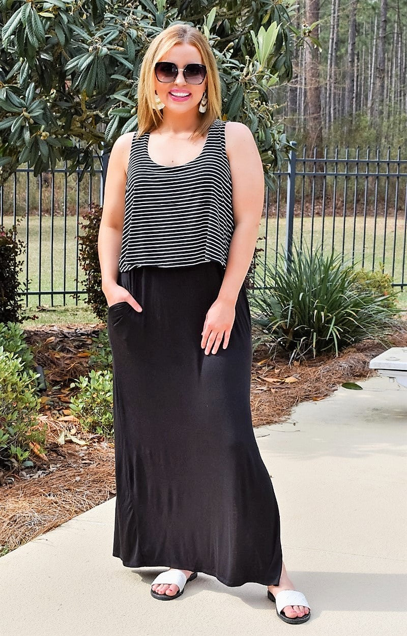 Load image into Gallery viewer, Such A Joy Striped Maxi Dress - Black/White