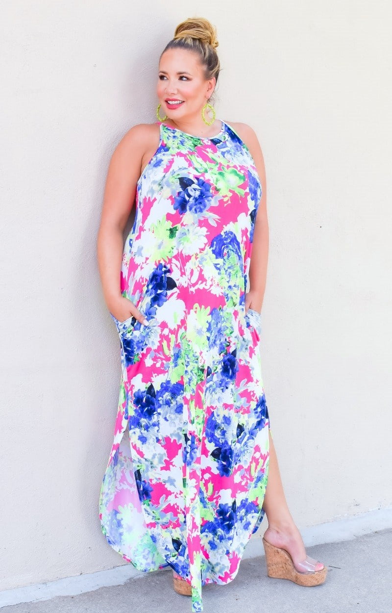 Grab Your Attention Floral Maxi Dress - Fuchsia