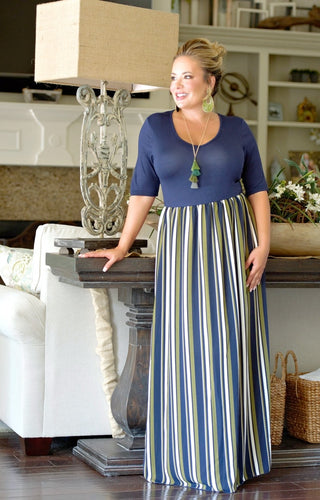 Almost Famous Striped Maxi Dress - Navy/Olive