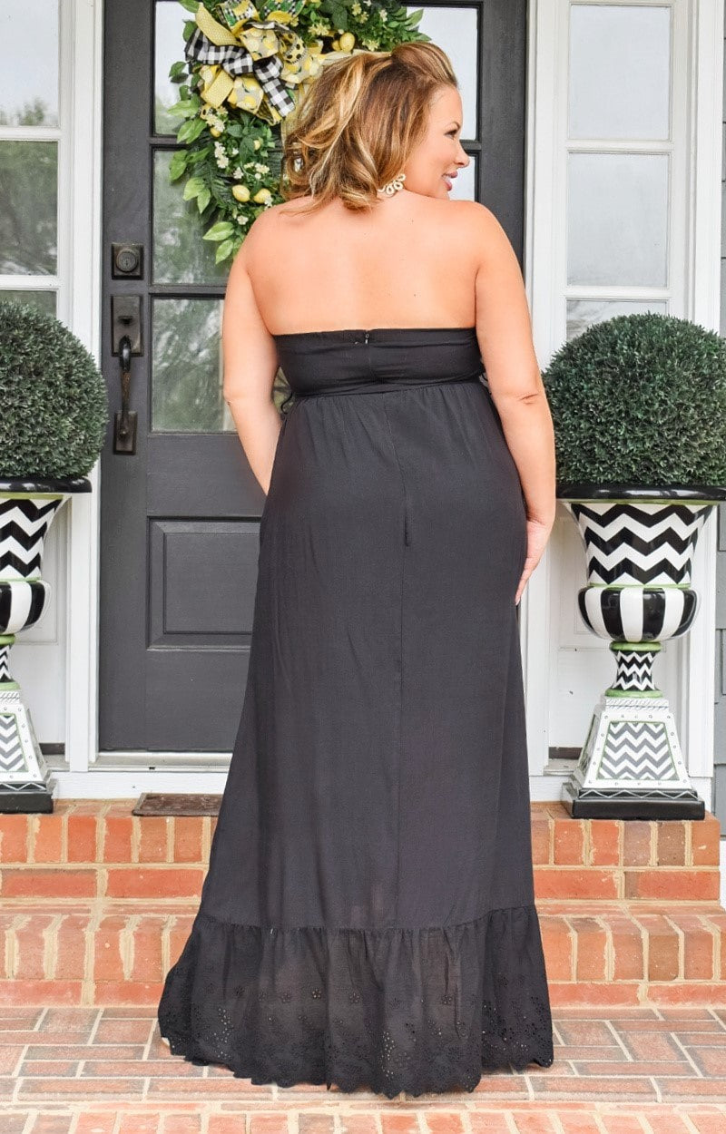 Load image into Gallery viewer, All Smiles Embroidered Maxi Dress - Black