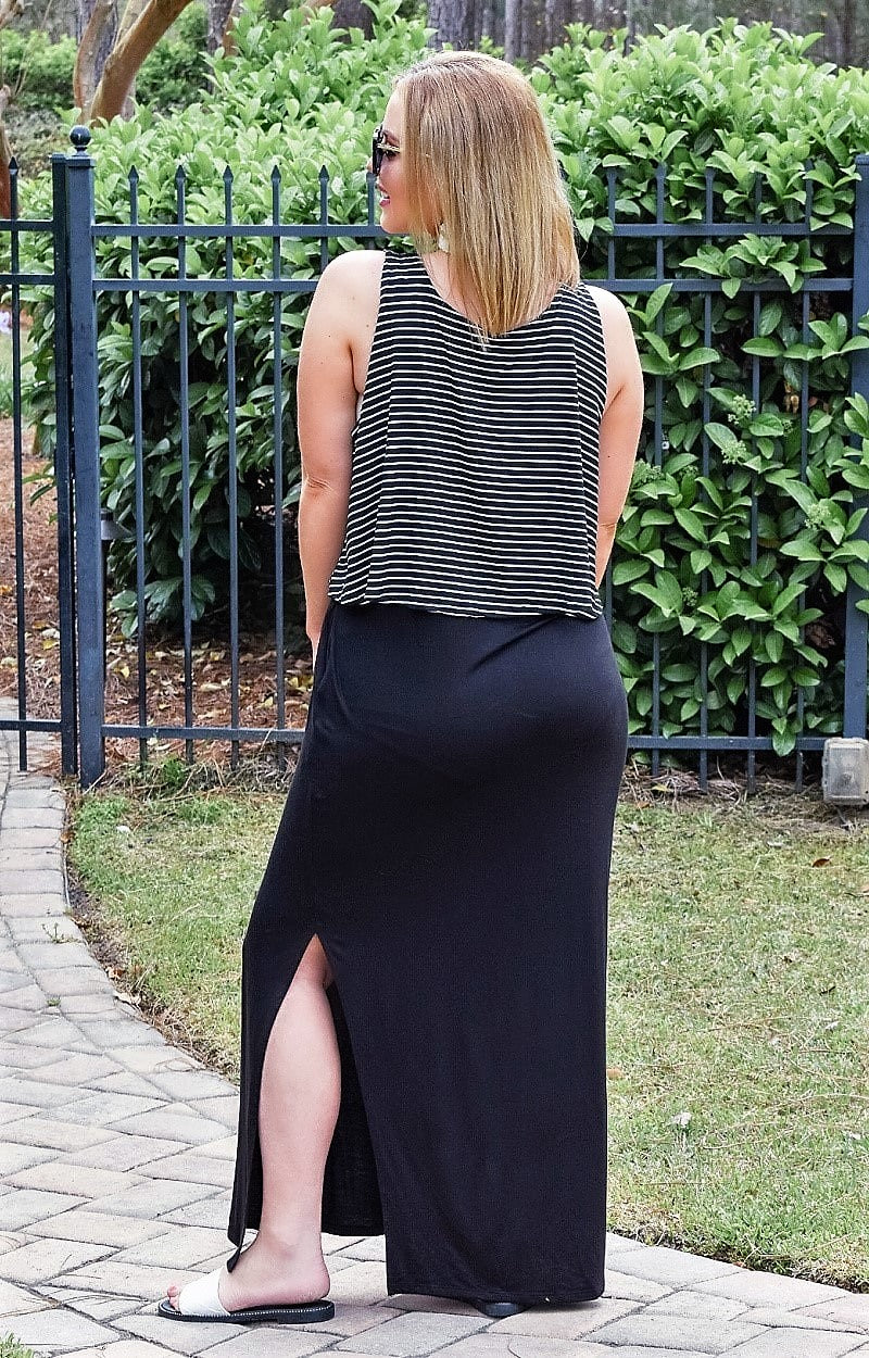 Such A Joy Striped Maxi Dress - Black/White