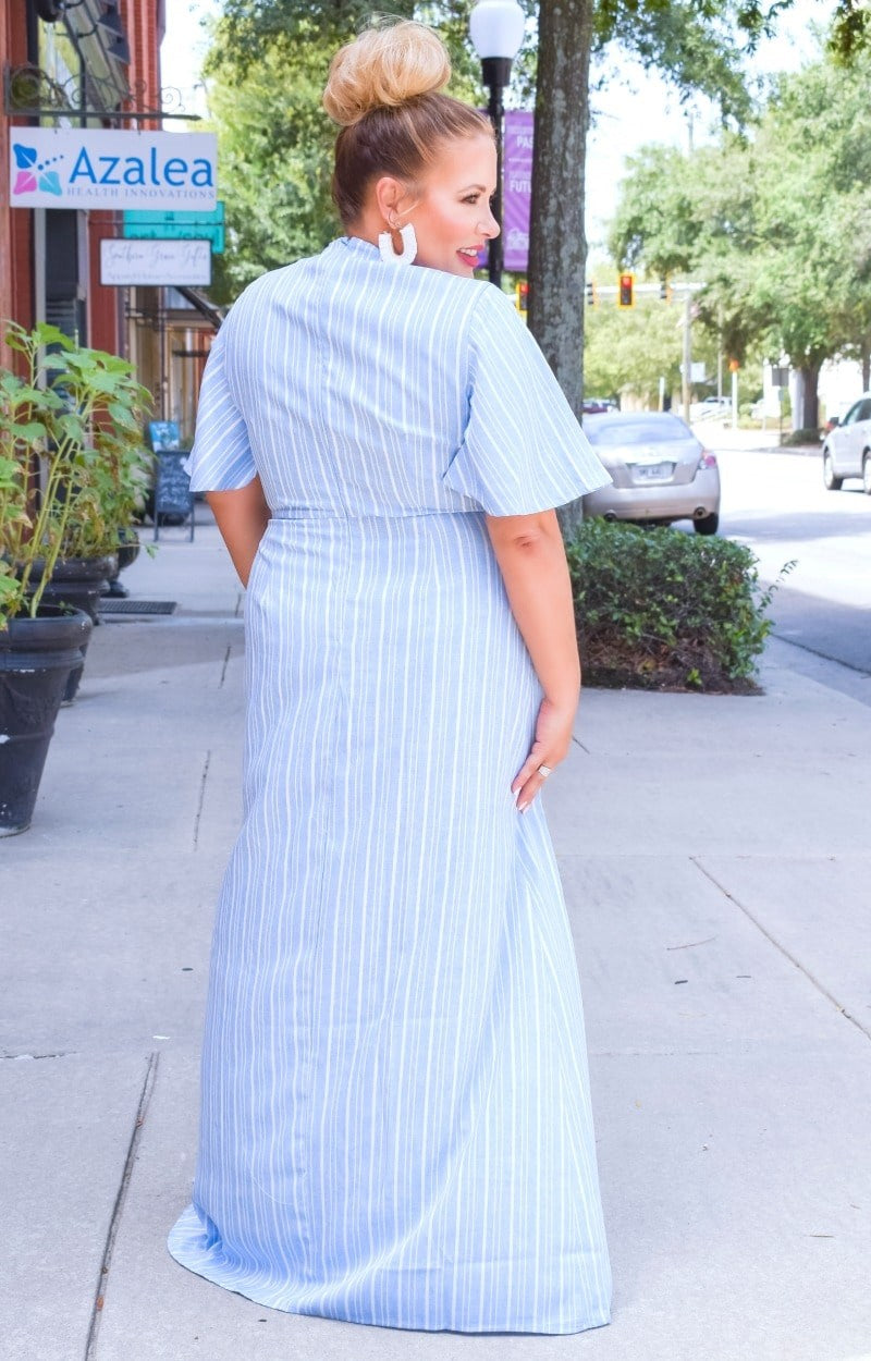Load image into Gallery viewer, Mark Your Calendar Striped Maxi Dress - Blue