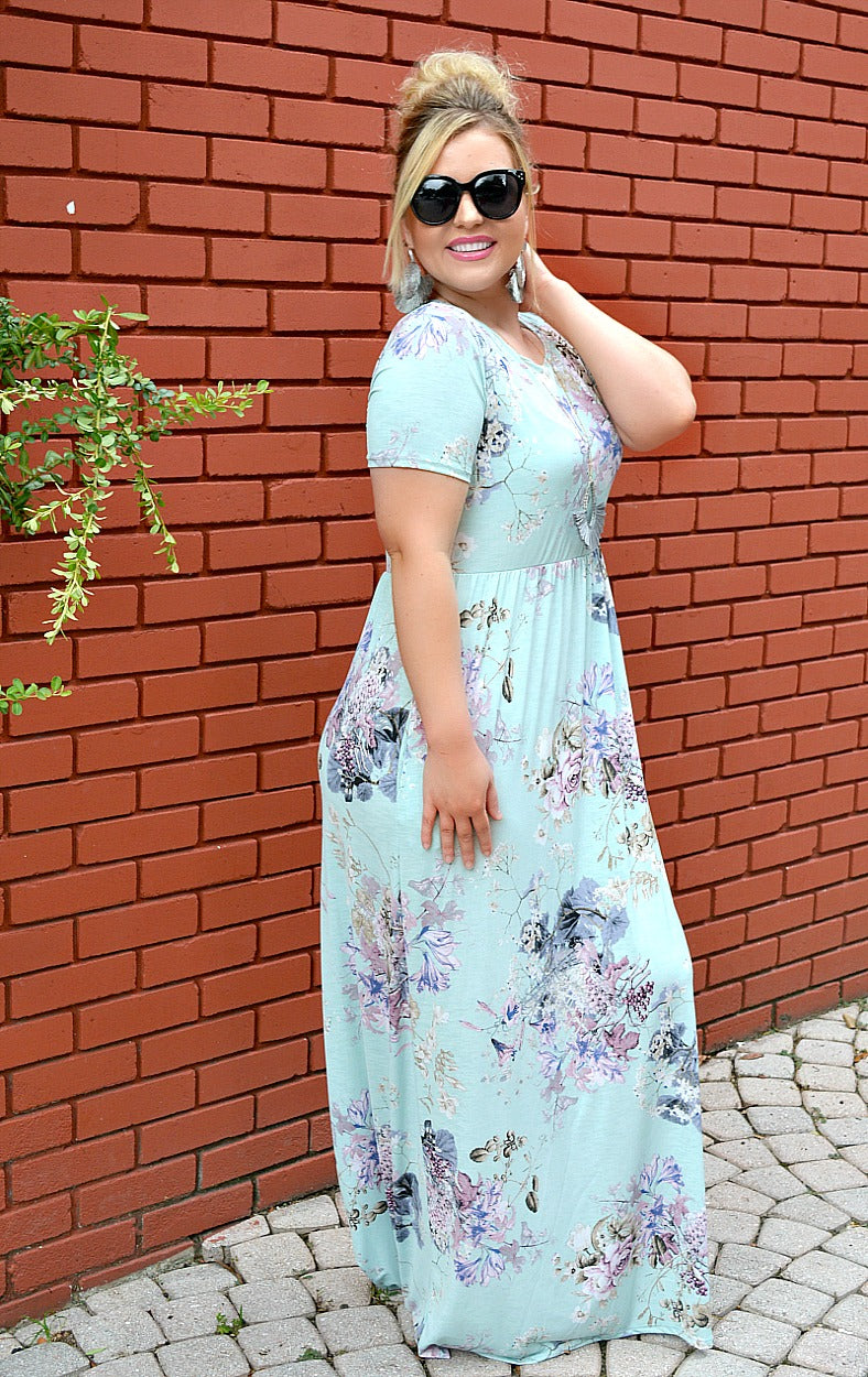 Load image into Gallery viewer, Watch Me Bloom Floral Maxi Dress - Mint