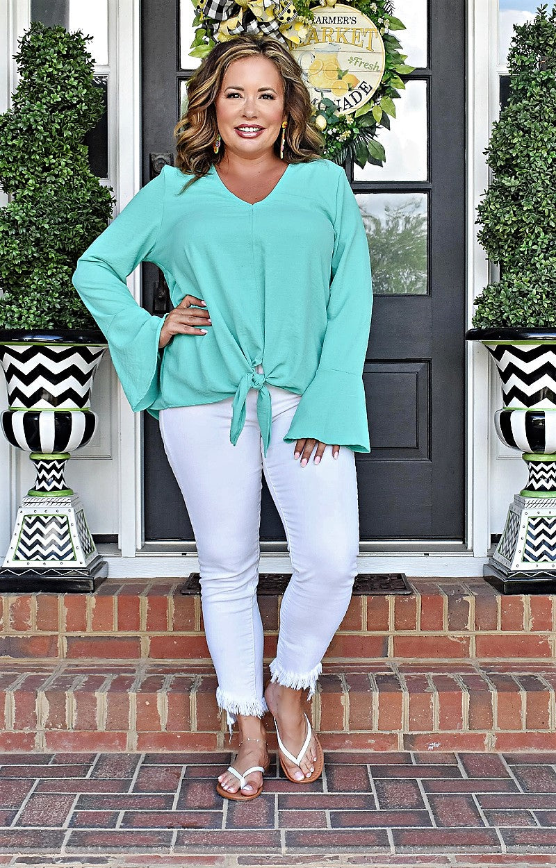 Living The Dream Print Top - Mint/Gray