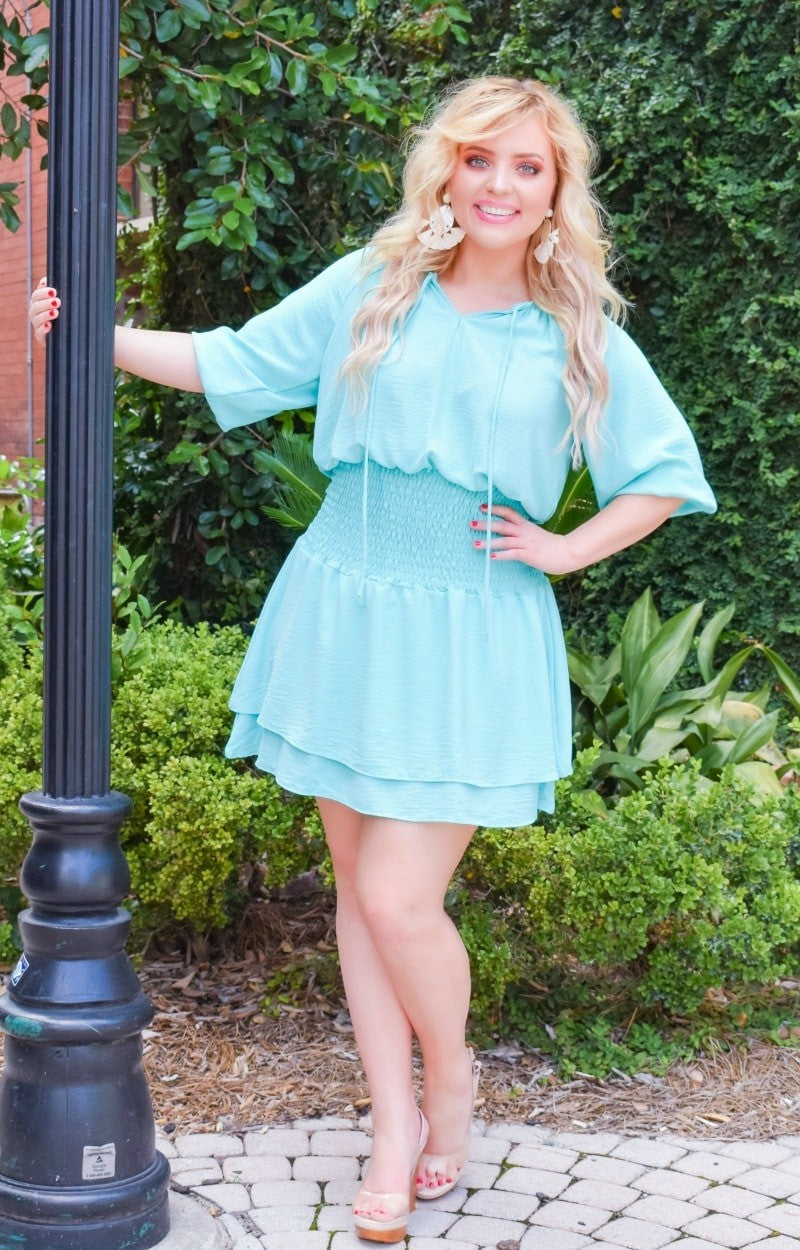 Ask Me Out Smocked Dress - Mint