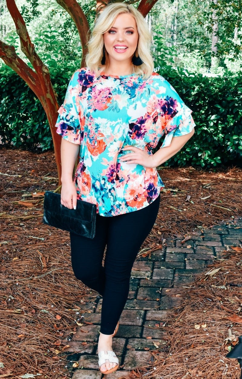 Falling Into Floral Top - Mint