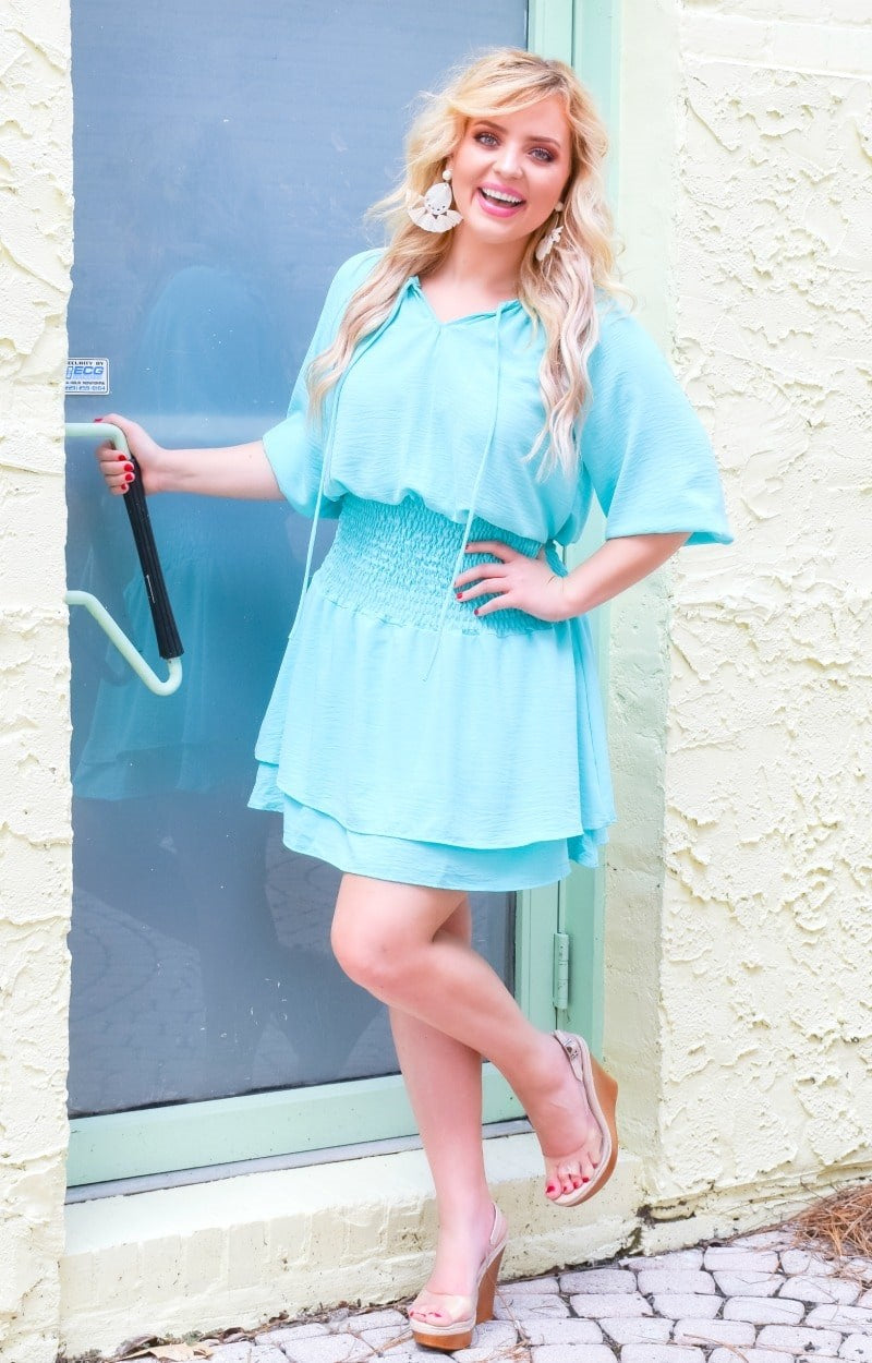 Load image into Gallery viewer, Ask Me Out Smocked Dress - Mint