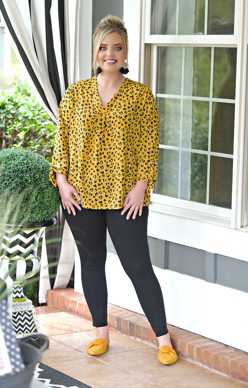 Double Dare You Leopard Print Top - Mustard