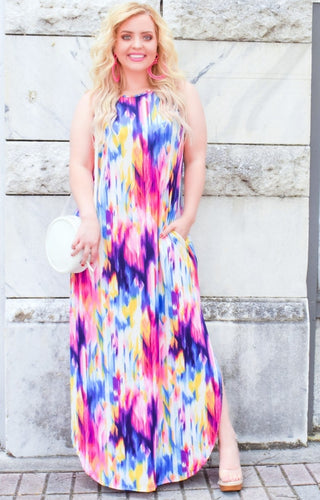 Be Happy Print Maxi Dress