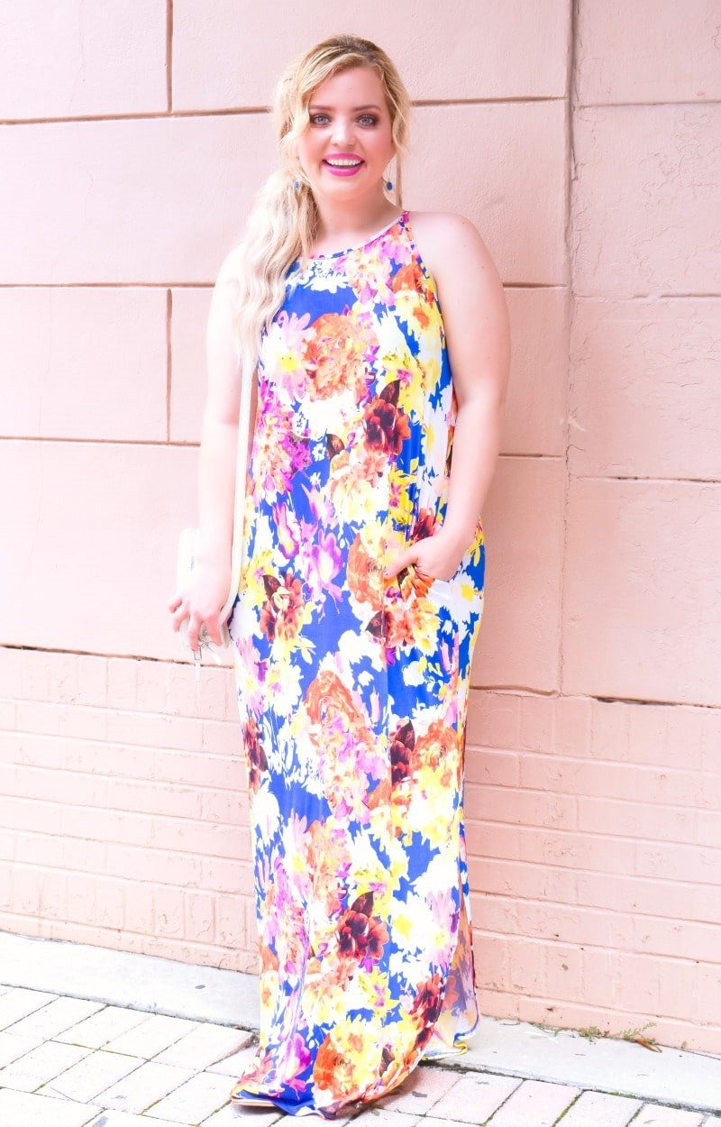 Grab Your Attention Floral Maxi Dress - Royal Blue
