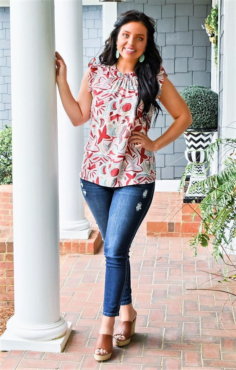 Just Say The Word Floral Top - Pink/Multi