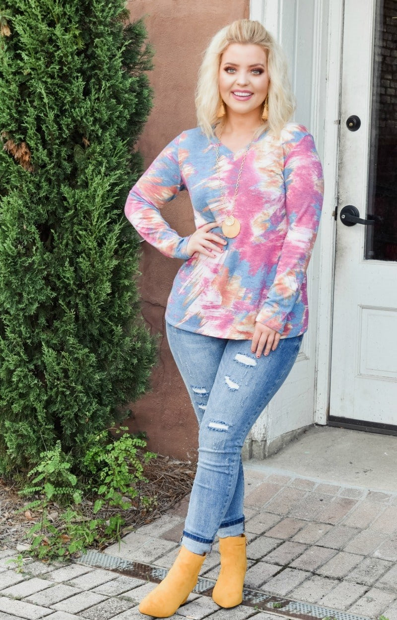 Pace Yourself Print Top - Wine/Multi