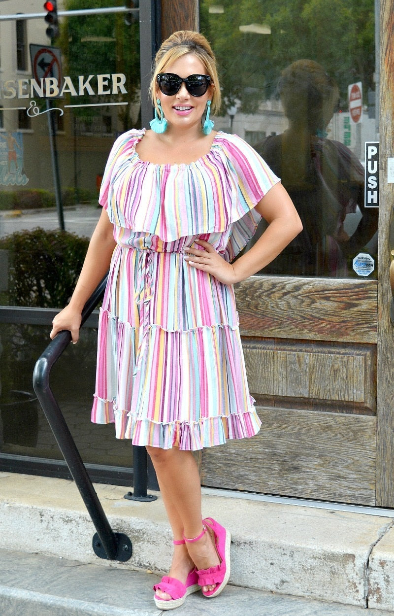 Load image into Gallery viewer, Top Notch Striped Dress - Multi
